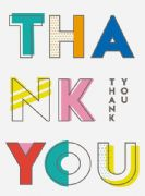 Pack of 10 Colourful Thank You Cards